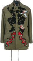 Antonio Marras rose patch parka - women - Cotton/Acrylic/Polyamide/water - 40