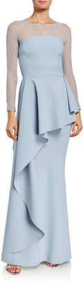 Chiara Boni High-Neck Long-Sleeve Illusion Gown w/ Elongated Peplum