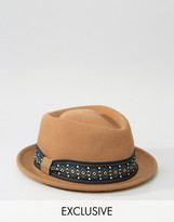 Reclaimed Vintage Trilby Hat With Geo Band Brown