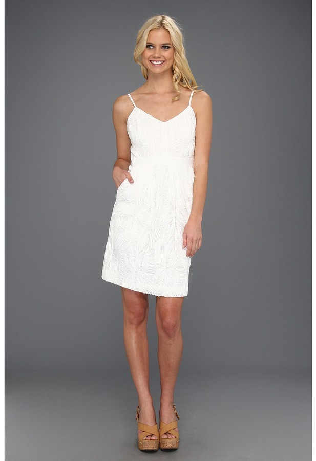 Vince Camuto Spaghetti Strap Dress w/ Contrast Side Panels (White) - Apparel