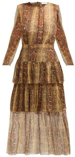 Zimmermann Ninety Six Snakeskin Print Fluted Dress - Womens - Python