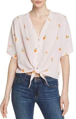 Rails Thea Peach Print Silk Tie-Front Top