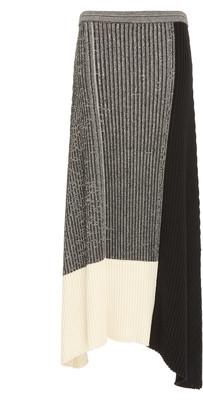 REJINA PYO Yuki Color-Blocked Cotton-Blend Ribbed-Knit Skirt