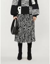 Ted Baker Viviynn zebra-print crepe midi skirt