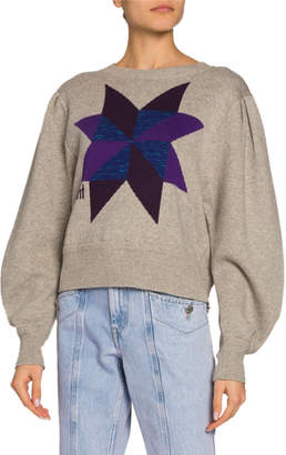 Etoile Isabel Marant Kyall Blouson-Sleeve Logo Pullover Sweater