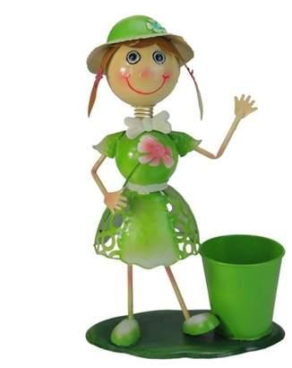 "Northlight 17"" Girl with Flower Decorative Spring Outdoor Garden Planter - Green/Pink"
