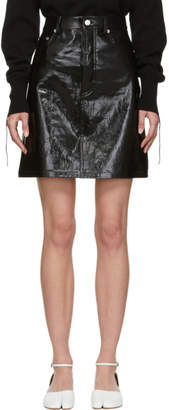Helmut Lang Black Patent Leather Five-Pocket Miniskirt