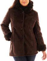 JCPenney Excelled Leather Excelled Hooded Faux-Shearling Coat - Plus
