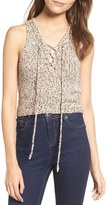 Astr Women's Lace-Up Crop Sweater