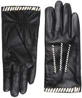 Monochrome Leather Whipstitch Gloves