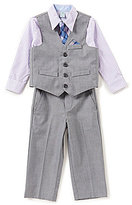 Class Club Little Boys 2T-7 Button-Down Shirt, Vest, Flat-Front Pants, & Tie 4-Piece Set