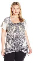 OneWorld Women's Plus Size Short Sleeve Printed Scoop Neck Bling Top