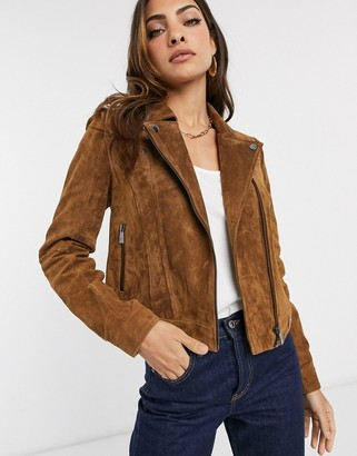 Vero Moda real suede biker jacket in tan-Brown