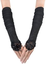 Coxeer Bridal Fingerless Gloves Embroidery Lace Satin Wedding Gloves