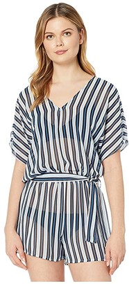 MICHAEL Michael Kors Marine Stripe V-Neck Romper Cover-Up