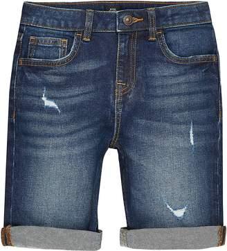 River Island Boys dark blue rip Dylan slim fit shorts