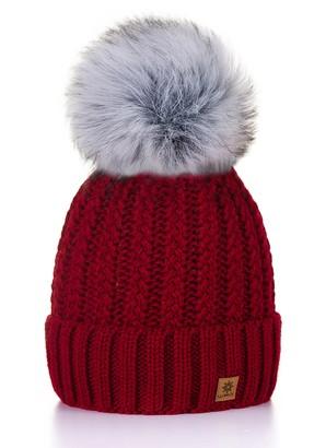MFAZ Morefaz Ltd Women Ladies Winter Beanie Hat Knitted with Small Crystals Large Pom Pom Cap Ski Snowboard Hats (Burgund)