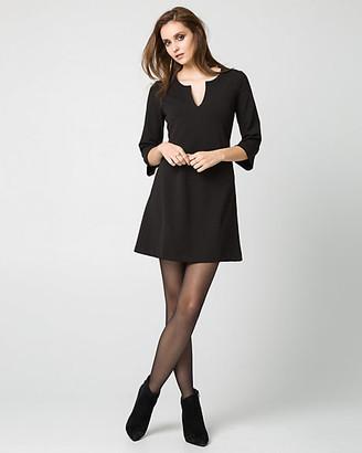 Le Château Knit Crepe Split V-Neck Tunic Dress