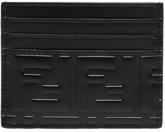 Fendi FF motif embossed leather cardholder