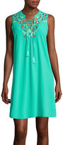 My Michelle Sleeveless Embroidered Lace-Up A-Line Dress