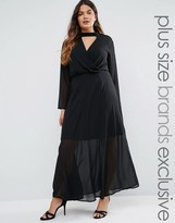 Truly You Long Sleeve Maxi Dress With Collar Detail