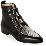 Jimmy Choo Black & Silver Buckled Low Heel Ankle Boots