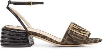 Fendi Logo-Print Low-Heel Sandals