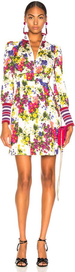 Dolce & Gabbana Fiorellini Print Charmeuse High Collar Dress