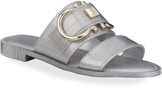 Salvatore Ferragamo Taryn Metallic Jelly Logo Slide Sandals
