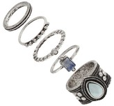Women's Ring Set with Teardrop, Rectangle and Crystal Stones-Silver
