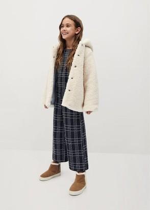 MANGO Shearling-effect hooded coat