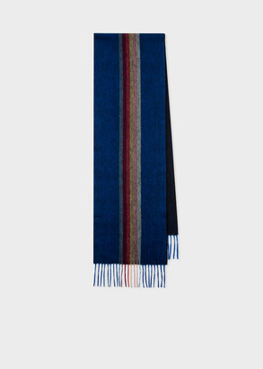 Paul Smith Men's Indigo 'Artist Stripe' Central Band Cashmere Scarf
