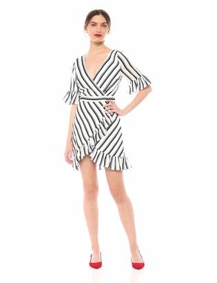 BB Dakota Junior's Visual Pursuit Stripe Printe Reverse Crepon Dress