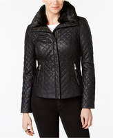 INC International Concepts Faux-Fur-Collar Faux-Leather Quilted Jacket