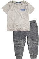 River Island Mini boys grey T-shirt and joggers outfit
