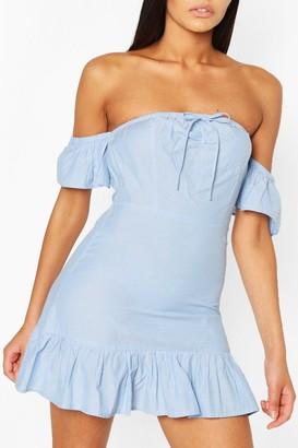 boohoo Tie Detail Bardot Frill Denim Dress
