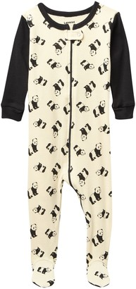 Leveret Panda Footed Pajama Sleeper (Baby & Toddler)