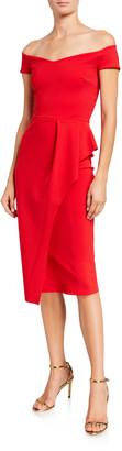 Chiara Boni Off-Shoulder Cap-Sleeve Apron Skirt Dress