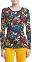 Tory Burch Katrian Floral Dot-Print Long-Sleeve Tee