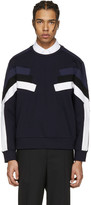 Neil Barrett Navy Panelled Modernist Retro Pullover