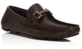 Salvatore Ferragamo Men's Parigi Double Gancini Bit Pebbled Leather Loafers - Wide