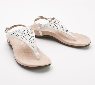 Vionic Leather or Suede T-Strap Perforated Sandals - Kirra