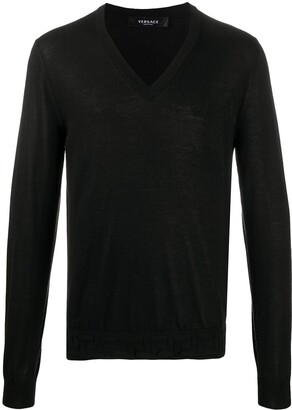 Versace Grecca Accent V-neck jumper