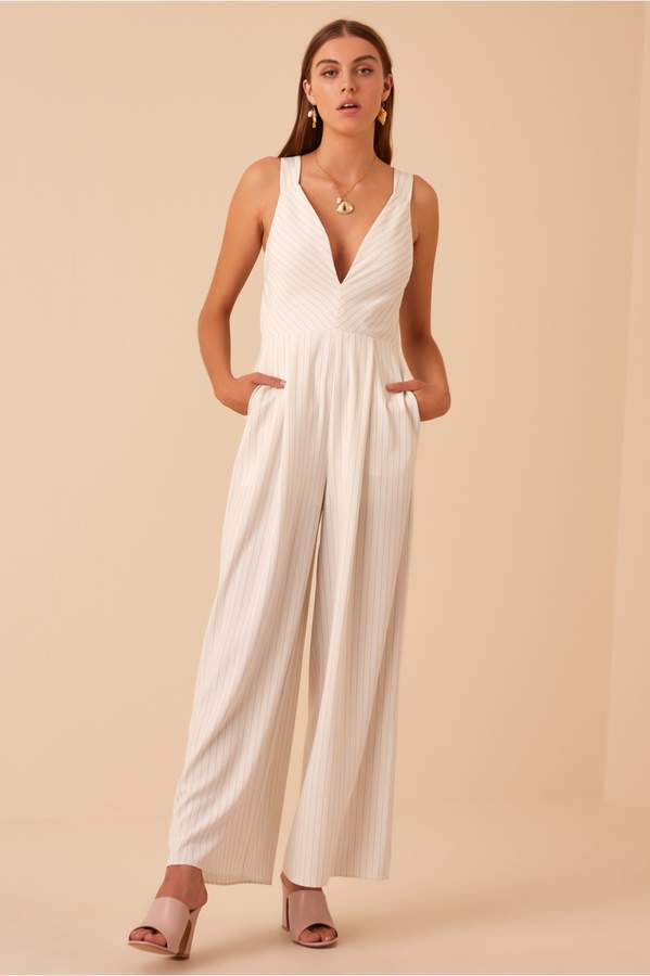 Finders Keepers FLAMENCO JUMPSUIT ivory stripe