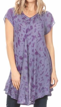 Sakkas 19226 - Xoana Women's Casual Cap Sleeve V-Neck Flare Loose Boho Swing Short Dress - Purple - OSP