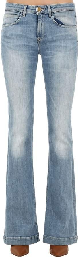 L'Autre Chose Flared Washed Cotton Denim Jeans