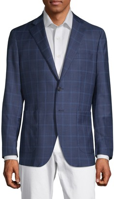 Saks Fifth Avenue Made In Italy Checkered Notch Lapel Jacket