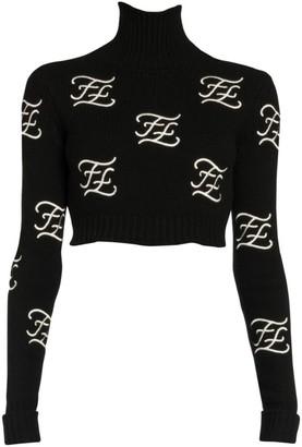 Fendi Embroidered Logo Crop Turtleneck Sweater