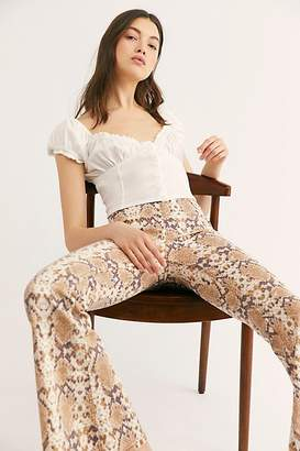 Free People Printed Penny Pull-On Flare Jeans
