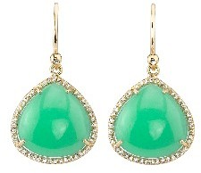 Irene Neuwirth Chrysoprase Teardrop Earrings with Pave Diamonds - Yellow Gold